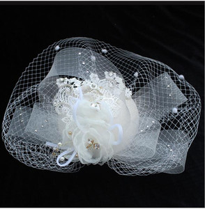 Popular Fashion Beige Wedding Bridal Hats For Ladies Lace Fascinator Hats Headpieces Cover Mask Pearls Flower Stage Wedding Accessories