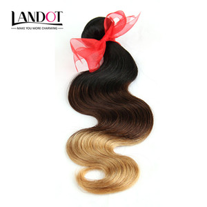 Wholesale ombre weave brown blonde resale online - 3Pcs Inch Three Tone Ombre Filipino Human Hair Extensions Body Wave Wavy B Black Brown Blonde Ombre Virgin Hair Weaves Bundles