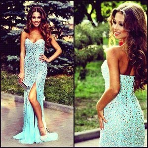 Sparkly Luxury Crystal Rhinestone Evening Dresses 2017 Light Sky Blue Mermaid Sweetheart Long Prom Gowns Formal Dresses BO7381 on Sale