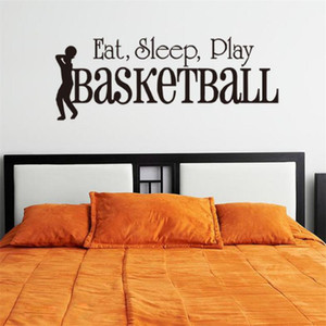 Wholesale 3D SLEEP PLAY Basketball wall sticker quotes Art Home Decor Art Decals Kids Boy Room Decor wall stickers for boys rooms