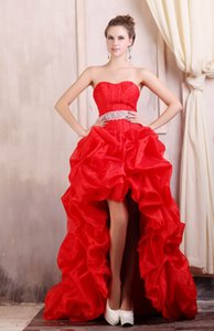 Wholesale Hi Lo Red Prom Dresses Sweetheart Exquisite Ruched Ruffle Skirt Beaded Belt Lace up Back Party Gowns Real Images
