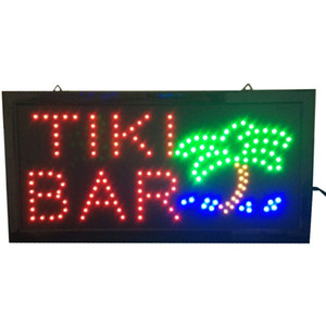 Wholesale hot sale inch LED Signs bright neon led sign TIKI BAR with palm tree and ocean animation