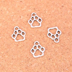 Wholesale 200pcs Antique Silver Plated dog paw Charms Pendants for European Bracelet Jewelry Making DIY Handmade mm