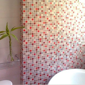Wholesale Wei bathroom wallpaper waterproof oil mosaic wallpaper tile stickers wall sticker papel de parede PVC Pink