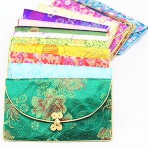 Wholesale Chinese knot Silk Brocade Set Small Zip Bags for Gift Wallet with Coin Purse Bag paper Napkin pack Vintage Bracelet Necklace Storage Pouch