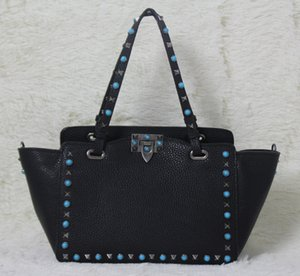 Wholesale high quality~ w332 s l genuine leather gem stud tote shopping bag black