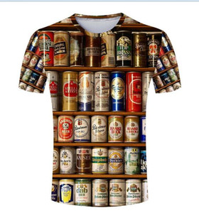 Hot Sales Hip hop T shirt Men 3D Stacked Beer Bottles Cans Casual Fashion Round Neck Summer Male Tees Clothing Short Sleeve