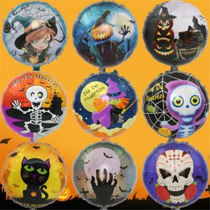 Wholesale 2017 New Halloween 18 Inch Balloon Party Decoration Black Cat Witch Pumpkin Head Skull Head Aluminum Foil Balloon Wholesale