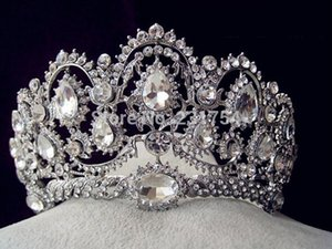 Wholesale-Huge Crystal Tiara Vintage Peacock Bridal Hair Accessories For Wedding Quinceanera Tiaras And Crowns Pageant Diamante Tiara