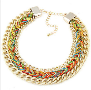 Wholesale Fashion colour cords braided metal alloy chain pendant necklace exaggerated all match temperament clavicle sweater
