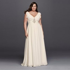 Wholesale 8JP341601 Simple V Neck Flutter Cap Sleeve Plus Size Wedding Dress A Line Chiffon Sweep Train Bridal Gowns Fast Shipping