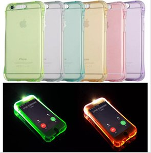 Wholesale For iphone case Incoming Calls Flash Up LED Light Cases small waist Transparent Clear Cover For iphone s se s plus Samsung s7 edge