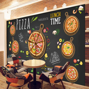 Wholesale Custom D wallpaper for walls D Pizza Shop Wall Mural Coffee Bread Wallpaper Restaurant dinning Cafe Wall covering Kitchen Room Decor