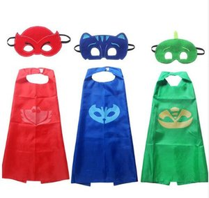 Wholesale Children Halloween Funny Clothes PJ Mask Cape Mask Boys Girls Group Owlette Catboy Gecko Costume Cloak Gift For Kids T
