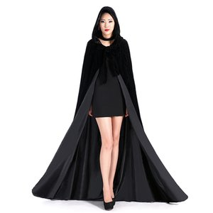 Wholesale velvet wedding cloak for sale - Group buy Different Colors Cheap Velvet Hooded Cloaks Winter Wedding Capes Wicca Robe Warm Christmas Long Bridal Wraps S XL