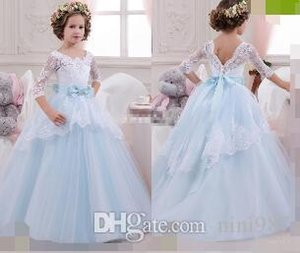 Vintage Flower Girl Dresses with Lace Sleeves Ball Gown Sky Blue Tutu 2017 Cheap Bow Beaded Princess Girls Pageant Dress Kids Birthday Gowns on Sale