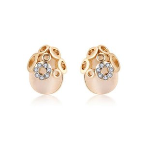 Wholesale Fashion Jewelry Cute K Yellow Gold Plated Clear Crystal White Opal Stud Earrings for Women Girls