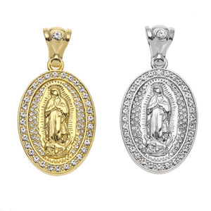 ingrosso pendente di cristallo ovale-Iced Out Oval Virgin Maria Ciondolo Hip Hop Jewelry Lega Bling Bling Strass Crystal Golden Silver Collana Catena cubana