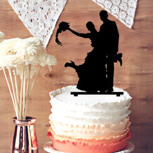 Wholesale Funny The Groom and Baldheaded Bride Taking Wig Silhouette Wedding Cake Topper Couple Wedding Cake Decoration