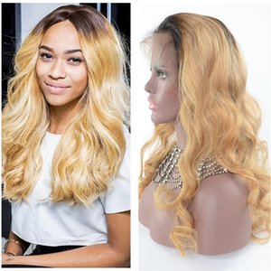Wholesale Ombre Human Hair Full Lace Wig Body wave Two Tone 1B #27 Glueless Lace Front Full Lace Wigs Ombre Hair Wig For Women