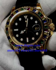 Wholesale Christmas gift mens SWISS watch Rubber Black Dial MM Color diamond bezel K gold Automatic Watch