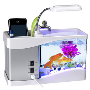 Wholesale led aquarium lights for sale - Group buy 6 LED light LCD Clock Display USB Desktop Aquarium Mini FishTank with Running Water MINI aquarium LED Multi functional Lights