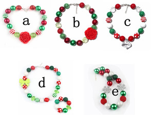 Wholesale 5styles Kids Christmas Red Green necklace Girl Chunky Bead Necklace socks gift lovely bubblegum Necklace Holiday Party Favors Accessories