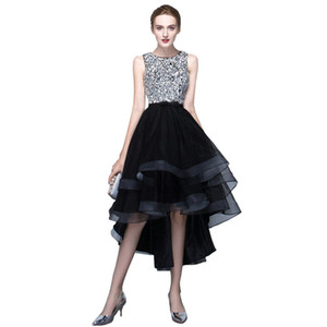 Wholesale Black Short Front Long Back Party Dresses Princess vestido de festa Elegant Sequined Prom Party Dress Homecoming Dresses