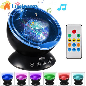 Wholesale LumiParty LED Ocean Wave Music Projector Night Light Color Changing Modes for Living Room and Bedroom with High Power Speaker