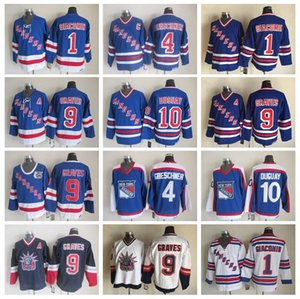 Wholesale Men old style 10Ron Duguay Jersey New York Rangers 4Ron Greschner 1Eddie Giacomin 9Adam Graves Vintage 75Th Hockey Jerseys Blue White