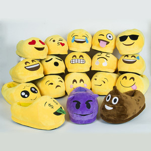 Wholesale Home Bedroom Baboosh QQ Emoji Plush Slipper Shoes Men And Women Keep Warm Non Slip Chinela Home Furnishing Articles 14zl C R