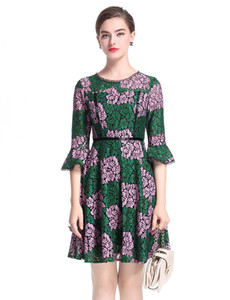 Embroidery Women A-Line Dress Half Flare Sleeve Round Neck Party Dresses 0917166
