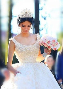 Wholesale big wedding dresses resale online - Arabic Ball Gown Wedding Dresses Princess Pearls Wedding Gowns With Big Bow Scoop Neck Cheap Vintage Bridal Dress Plus Size