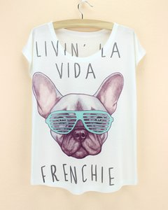 Wholesale Pretty cartoon french dog pattern top tees girls summer dress women s D printed t shirt new design tshirt blusas free ship