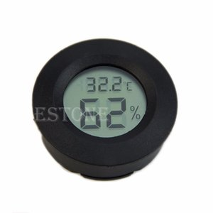 Wholesale-Digital Humidor Hygrometer Thermometer Round Black Face