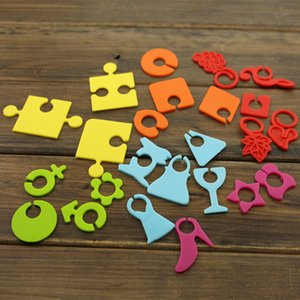 Wholesale Mix Color set Silicone Wine Glass Marker Drink Cup Tags Party Decorative Multi Shape Wine Identifier Label Party Supplies