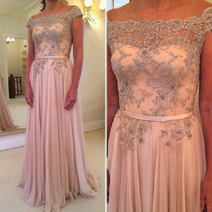 Wholesale New Designer Lace Prom Dresses Crystal Sheer Cap Sleeve Chiffon Party Dress Evening Gown Full Length Dhyz