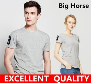 Wholesale Hot sell Men s short sleeve t shirt men fashion Big Horse Embroidery brand design cotton T shirt male quality print tshirts o neck Summer