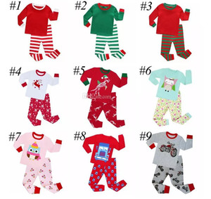 Children Christmas Pajamas Sets Kids Boys Girls Santa 2Pcs Green White Striped Nightwear Pajamas Sleepwear Clothing Sets for 2-8T 10colors