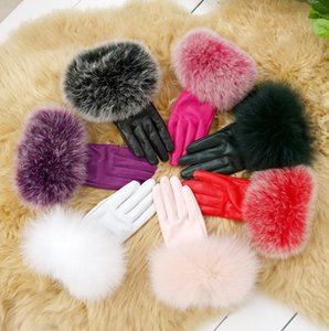 Wholesale womens Fox fur Real lambskin Gloves skin gloves LEATHER GLOVES Warm Fashion