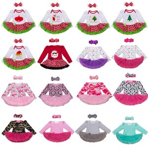 Wholesale 76 Styles Baby girls INS Christmas hollowen Rompers lace dress children Long sleeve romper Bows headbands sets baby Xmas pattern Cloth