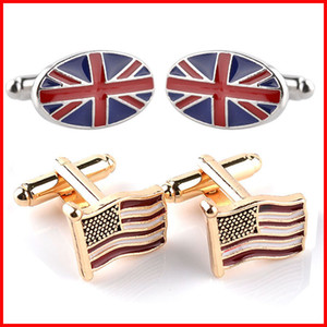 Wholesale USA American Flag Union Jack British flag Cufflink Cuff Links sleeve button women men shirts dress suit Cufflinks Christmas gift