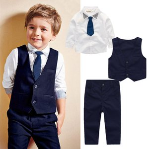 Wholesale Wedding baby boy suit outfit kid clothing set shirt waistcoat pants tie 4-piece outfits boys formal clothes sequin dot tuxedos suiting up