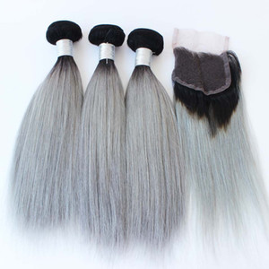 Wholesale greying hair resale online - Brazilian Grey Hair Weave Bundles With Lace Closure Silver Grey Ombre Hair Extensions With Closure B Grey Silky Straight
