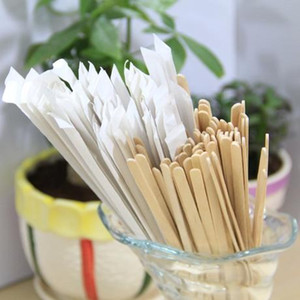 Wholesale 5000 Pieces cm Wrapped Wood Stirrer for Coffee Tea Drink Disposable Wooden Stir Stick Round End in Bag Cafe Shop