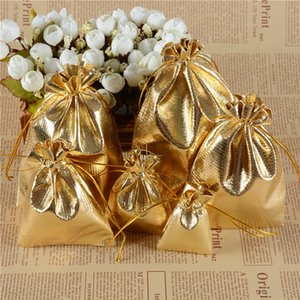 Wholesale Shiny Gold Silver Red Gift Bags Drawstring Fabric Jewelry Pouch Small Bags Jewelry Storage Baby Shower Gift Bags