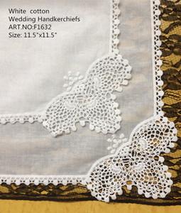 HomeTextiles New American style 12PCS lot white Soft100%cotton Ladies Wedding Handkerchief 11.5x11.5 Embroidery crochet Lace edges For Bride