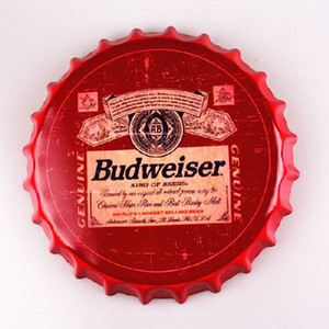 Budweiser Beer Cap Round Bottle Cap vintage Tin Sign Bar pub home Wall Decor Metal art Poster