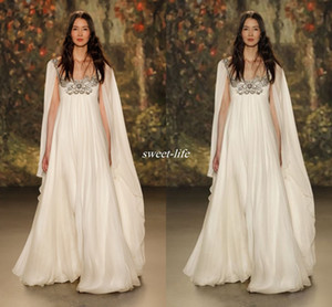 Wholesale Empire Waist 2019 Maternity Beach Long Wedding Dresses Scoop Neck Beaded Crystal Chiffon Plus Size Long Boho Bridal Gowns Jenny Packham