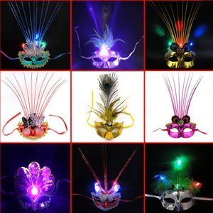 Wholesale 2015 hot new luminous butterfly peacock feather silk mask Christmas Halloween party stall goods